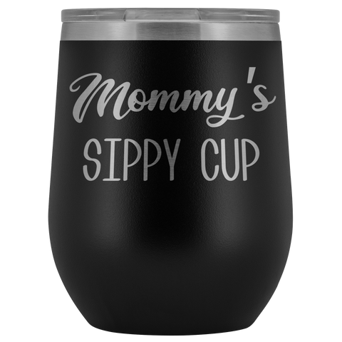 Mommy's Sippy Cup Mommy Wine Tumbler Gifts for Mom Funny Stemless Stainless Steel Insulated Tumblers Hot Cold BPA Free 12oz Travel Cup