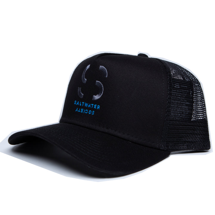 "Saltwater Society Black ""New Era 9FORTY Mesh Snapback"" Embroidered Logo Hat"