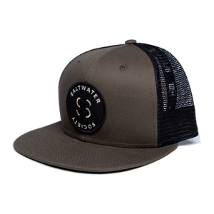 "Saltwater Society Brown 'New Era 9FIFTY Mesh Snapback"" Member Patch Hat"
