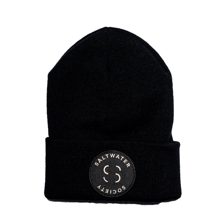 "Saltwater Society  ""Member Patch""  BLACK BEANIE"