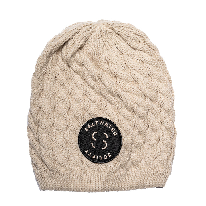"Saltwater Society  ""Member Patch""  KNITTED  TAN BEANIE"