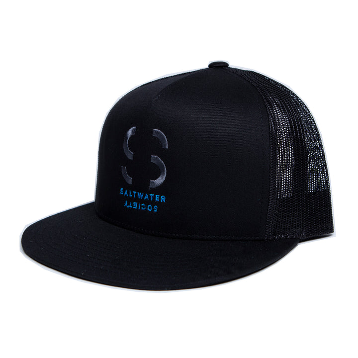 Saltwater Society Embroidered Black Hat with Blue Grey Logo