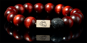 Impression | Men's Bracelet - The Cadence Company | Sterling Silver, Exotic Leathers & Rare Stones | Rugged Refined | Men's Beaded Bracelets | Men's Leather Bracelets | Handmade Bracelets | Mahogany | Cinnabar