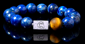Octave | Men's Bracelet - The Cadence Company | Sterling Silver, Exotic Leathers & Rare Stones | Rugged Refined | Men's Beaded Bracelets | Men's Leather Bracelets | Handmade Bracelets | blue beads | lapis lazuli