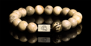 Mantra | Men's Bracelet - The Cadence Company | Sterling Silver, Exotic Leathers & Rare Stones | Rugged Refined | Men's Beaded Bracelets | Men's Leather Bracelets | Handmade Bracelets | Coral Fossil