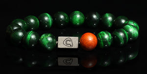 Mandolin | Men's Bracelet - The Cadence Company | Sterling Silver, Exotic Leathers & Rare Stones | Rugged Refined | Men's Beaded Bracelets | Men's Leather Bracelets | Handmade Bracelets | Green Tiger Eye