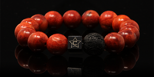 Carmine | Men's Bracelet - The Cadence Company | Sterling Silver, Exotic Leathers & Rare Stones | Rugged Refined | Men's Beaded Bracelets | Men's Leather Bracelets | Handmade Bracelets