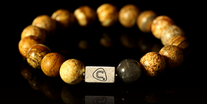 Pompeii | Men's Bracelet - The Cadence Company | Sterling Silver, Exotic Leathers & Rare Stones | Rugged Refined | Men's Beaded Bracelets | Men's Leather Bracelets | Handmade Bracelets | Picture Jasper