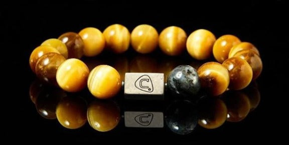 Staccato | Men's Bracelet - The Cadence Company | Sterling Silver, Exotic Leathers & Rare Stones | Rugged Refined | Men's Beaded Bracelets | Men's Leather Bracelets | Handmade Bracelets | Gold Tiger Eye