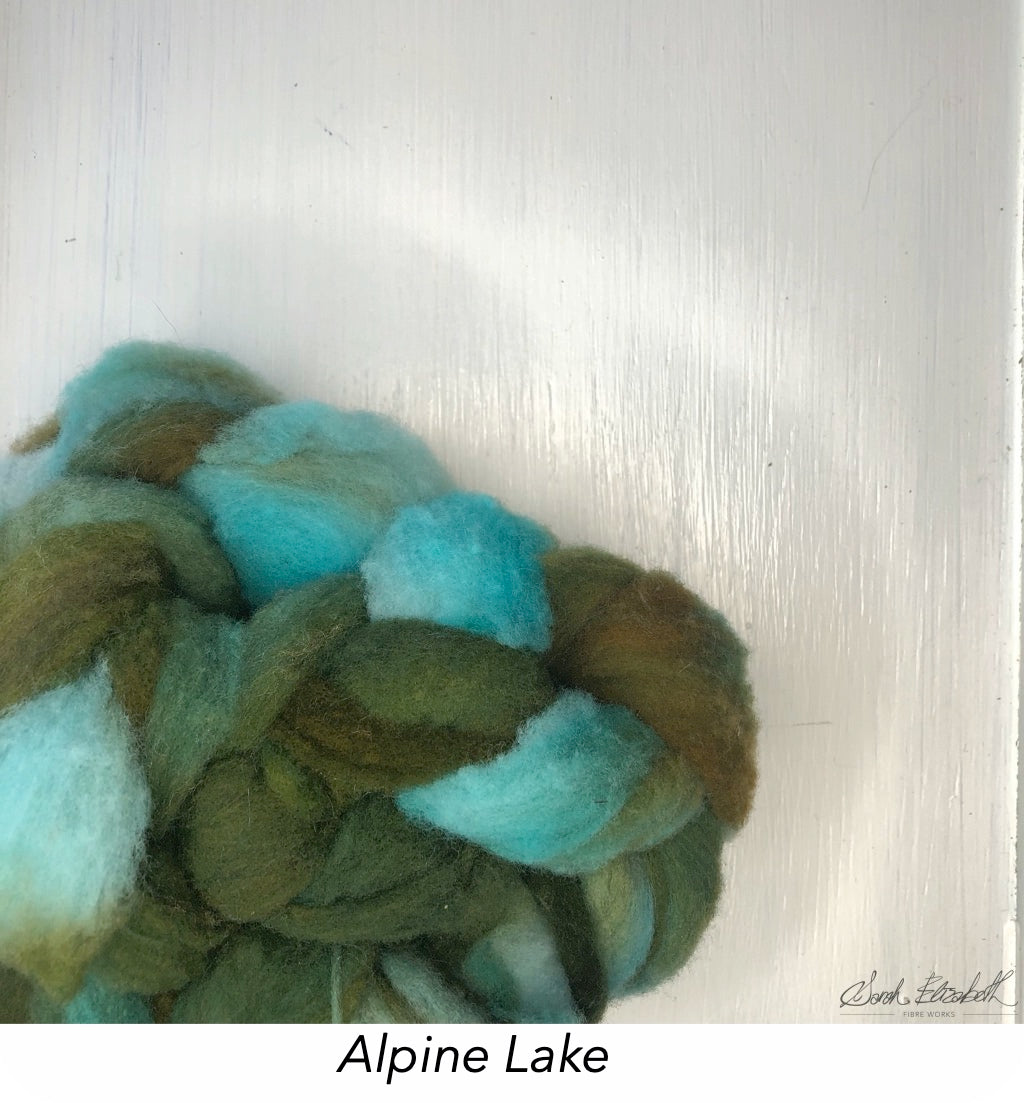 Hand Painted Canadian Merino Roving - Alpine Lake