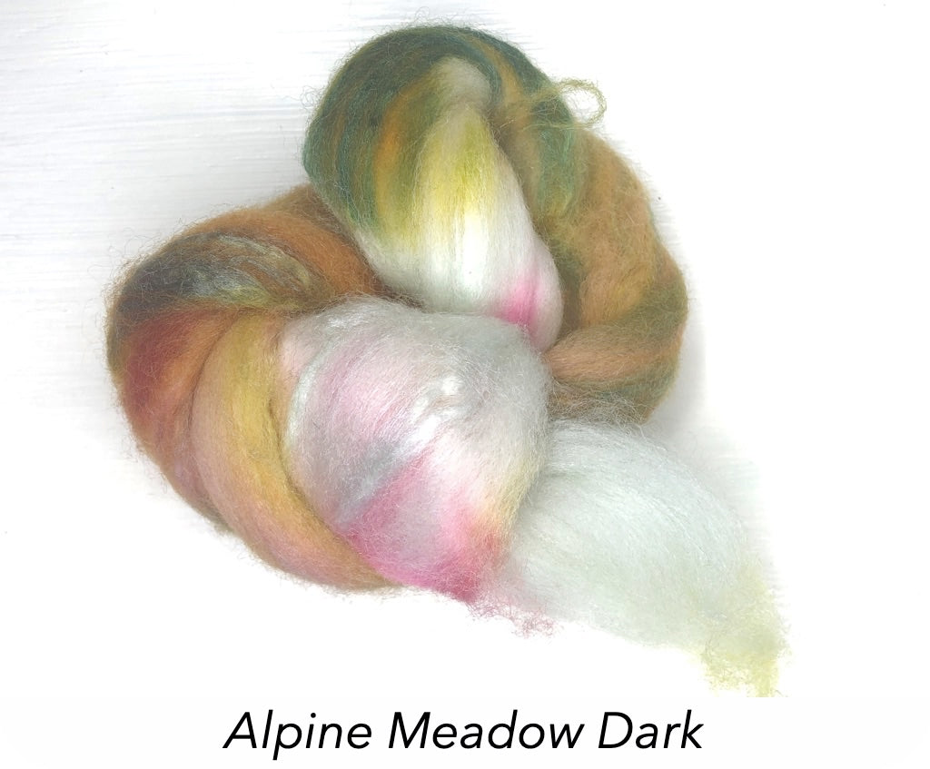 Hand Painted Silk/Merino Roving - Alpine Meadow Dark