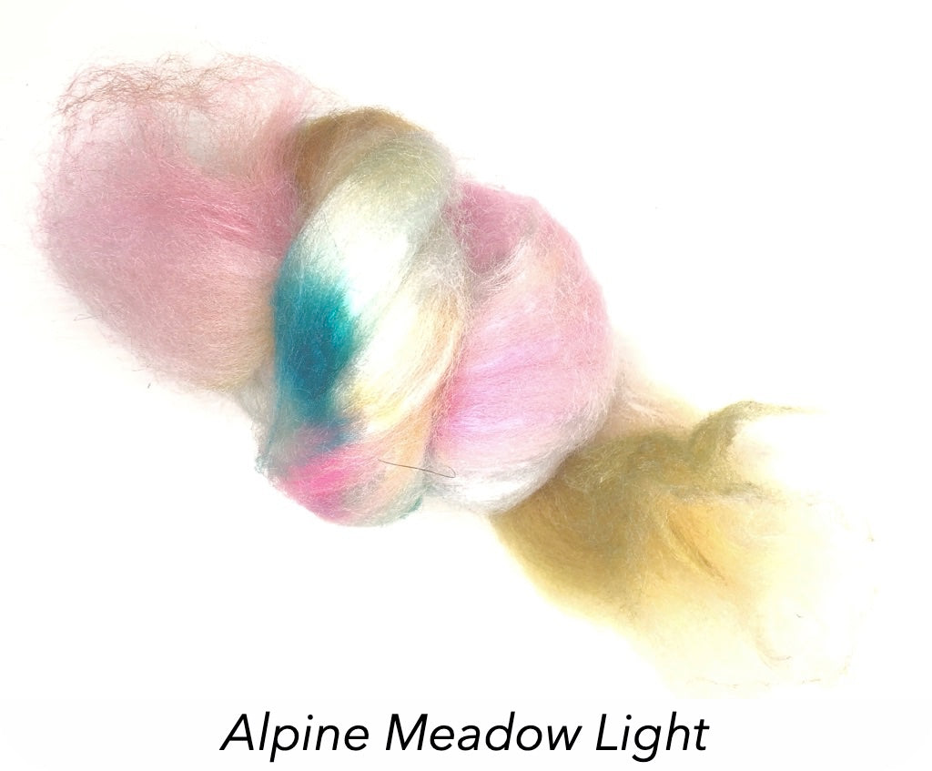 Hand Painted Silk/Merino Roving - Alpine Meadow Light