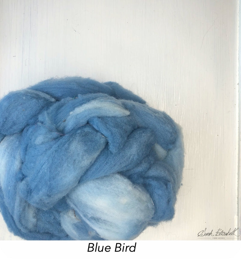Hand Painted Canadian Merino Roving - Blue Bird