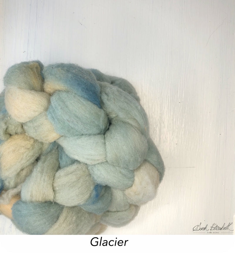 Hand Painted Canadian Merino Roving - Glacier