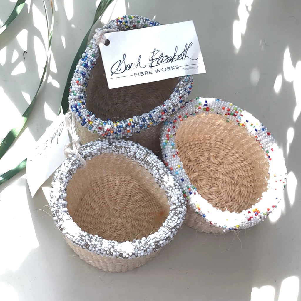Beaded Sisal Baskets -– Snow
