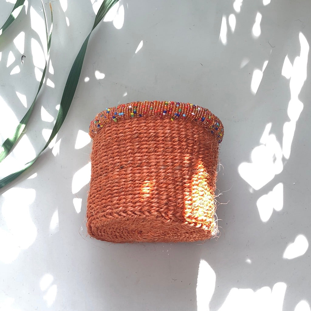 Beaded Sisal Baskets -– Mountain Rust
