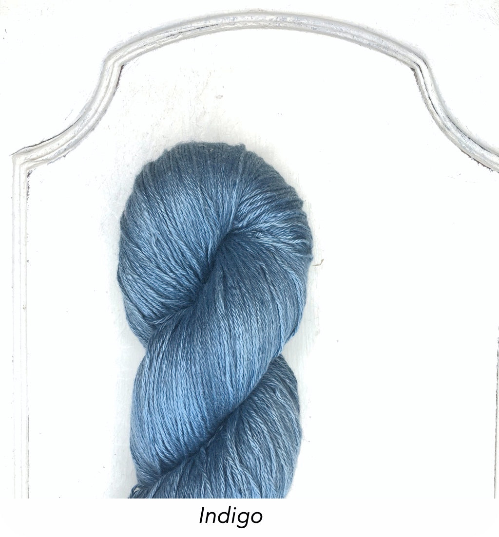 Silk Linen 3 Ply Fingering, Natural Dyed, Soft Solids - Indigo