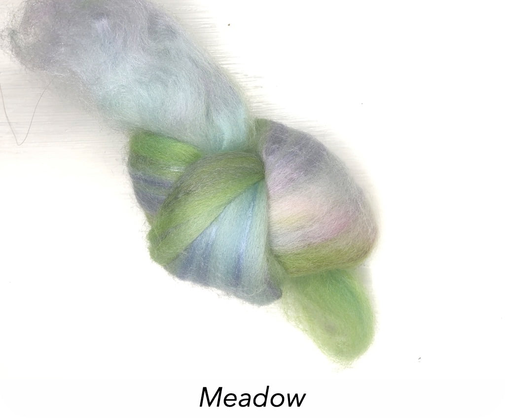 Hand Painted Silk/Merino Roving - Meadow