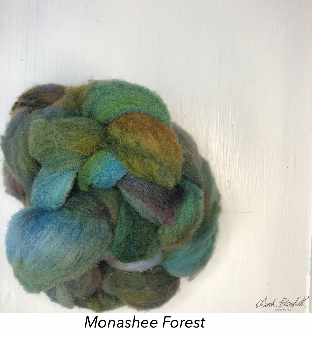 Hand Painted Canadian Merino Roving - Monashee Forest