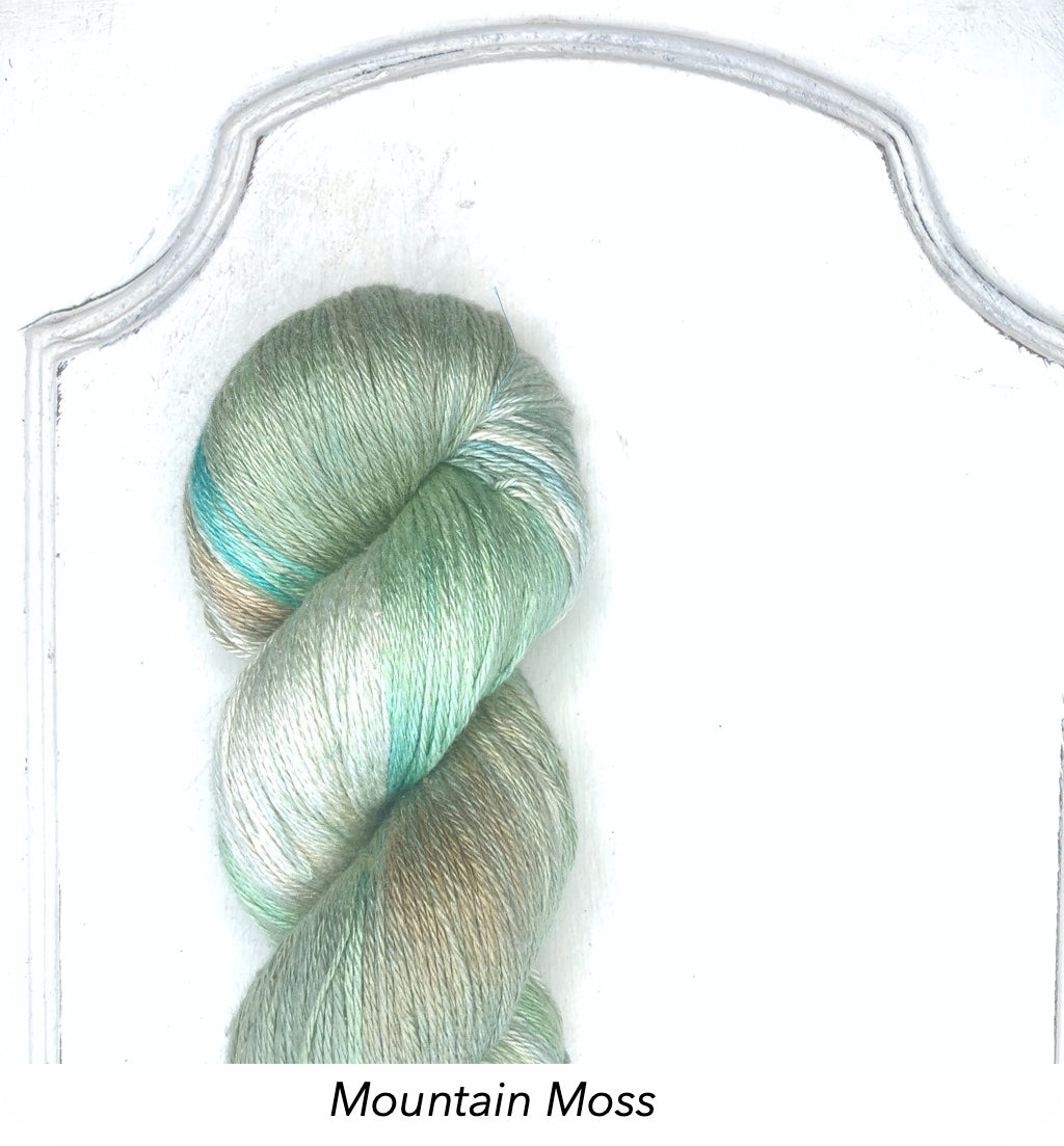 Silk Linen 3 Ply Fingering, Modern Dyed, Variegated - Mountain Moss