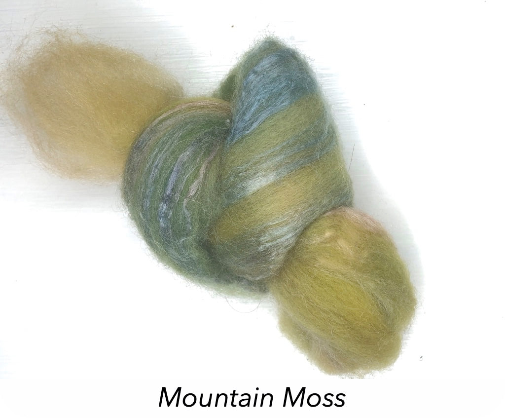 Hand Painted Silk/Merino Roving - Mountain Moss