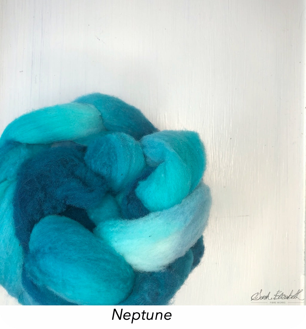 Hand Painted Canadian Merino Roving - Neptune
