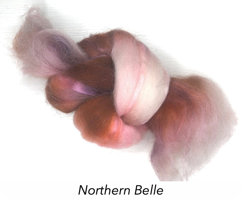 Hand Painted Silk/Merino Roving - Northern Belle