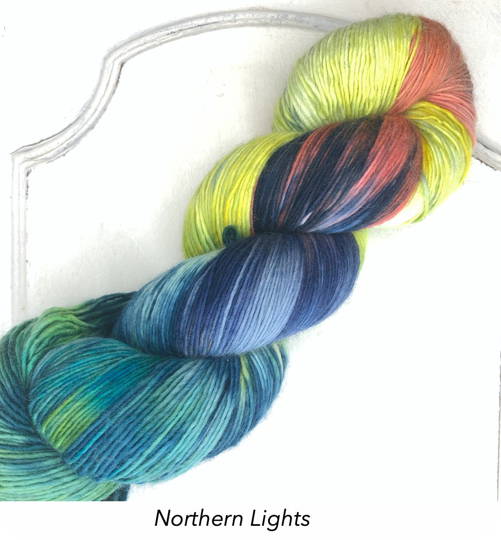 Ecowash 1 ply Fingering, Modern Dyed, Variegated - Northern Lights