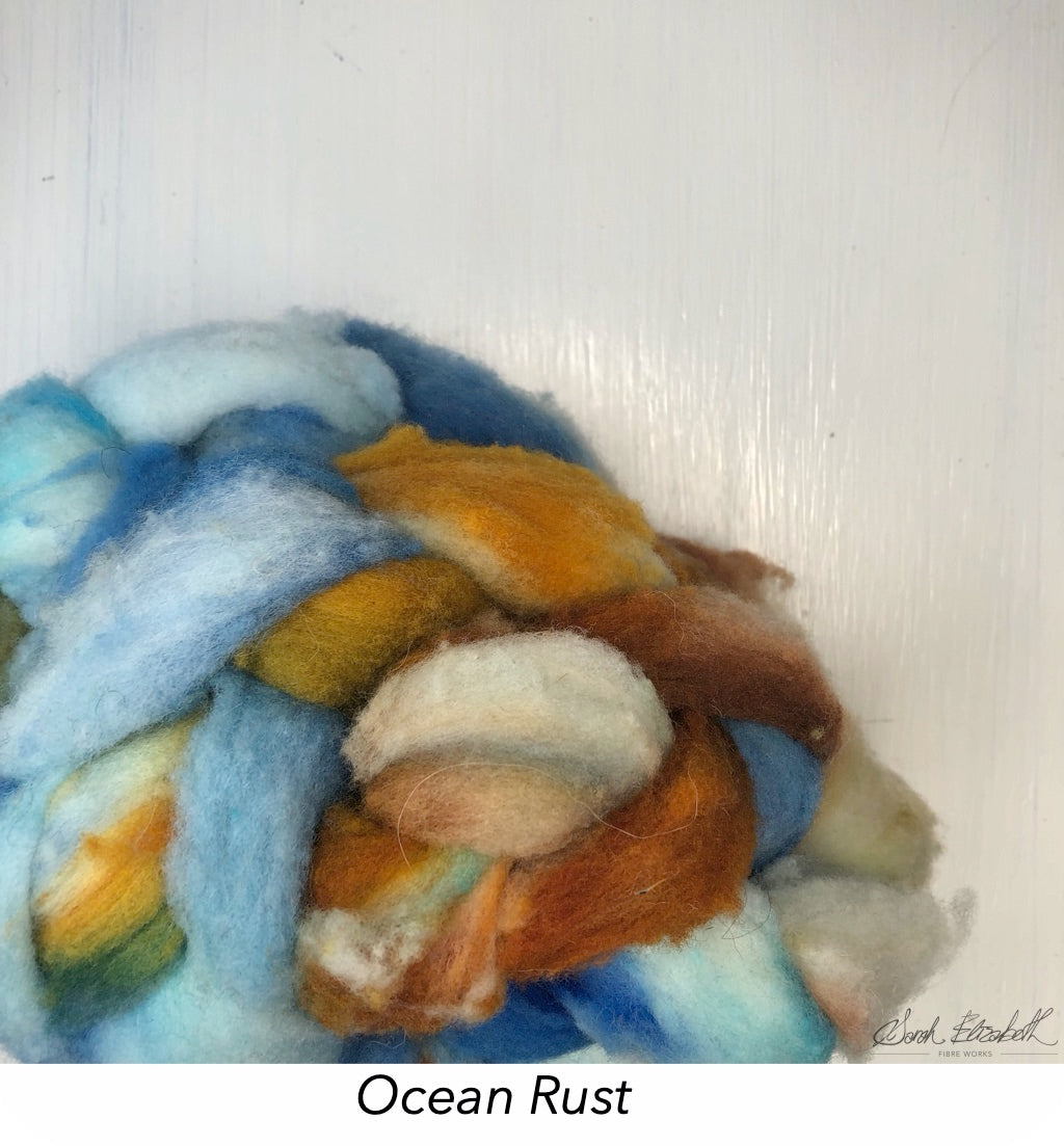 Hand Painted Canadian Merino Roving - Ocean Rust