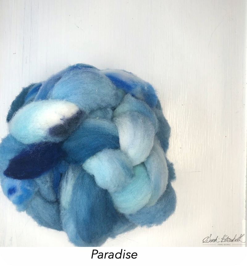 Hand Painted Canadian Merino Roving - Paradise