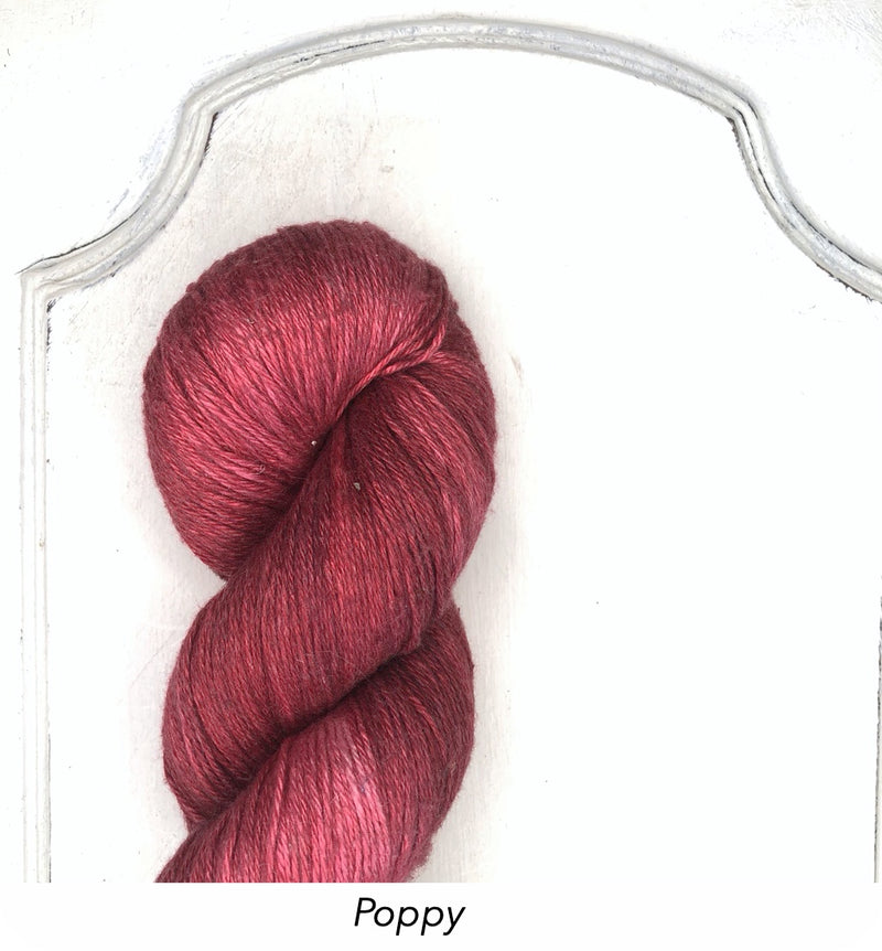 Silk Linen 3 Ply Fingering, Modern Dyed, Soft Solids - Poppy