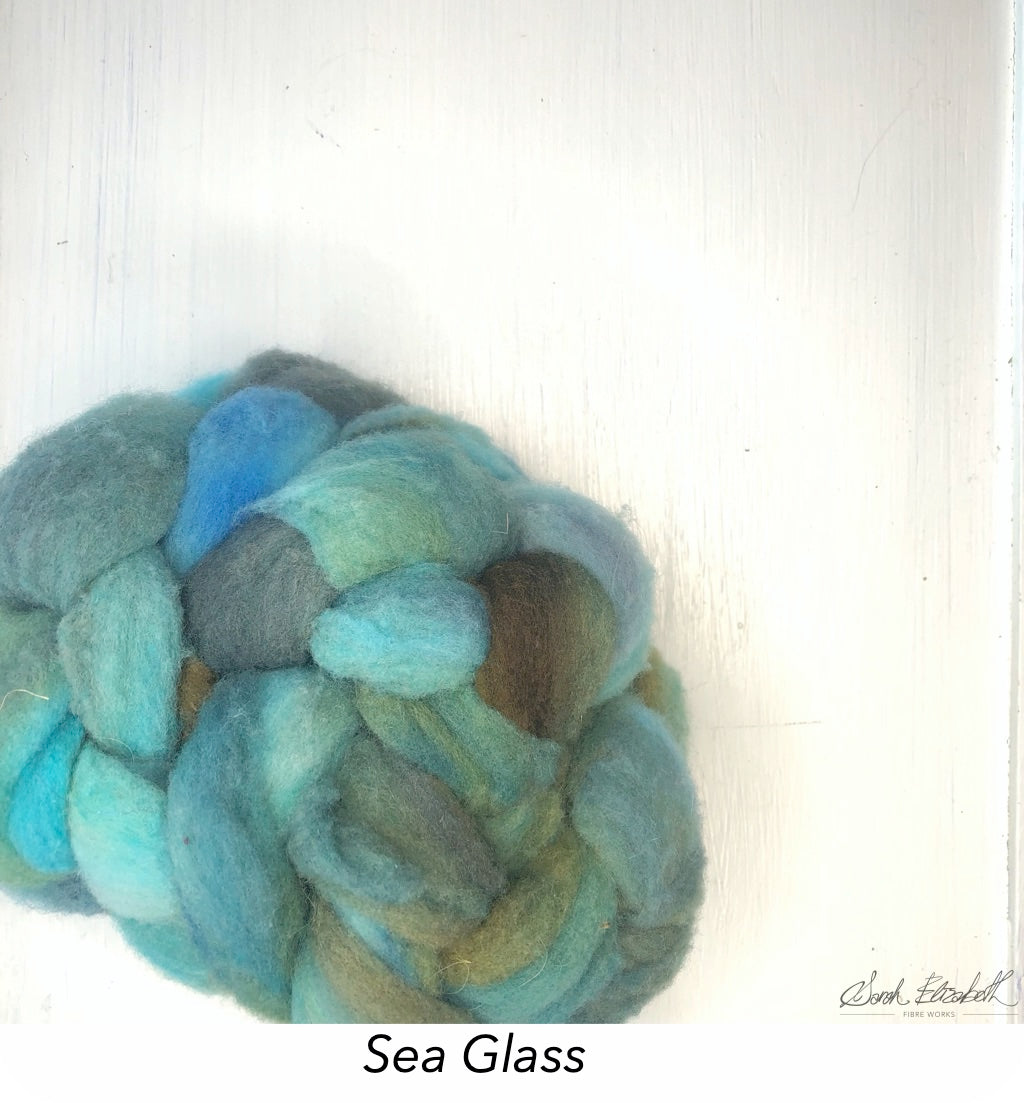 Hand Painted Canadian Merino Roving - Sea Glass