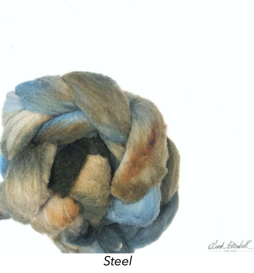 Hand Painted Canadian Merino Roving - Steel