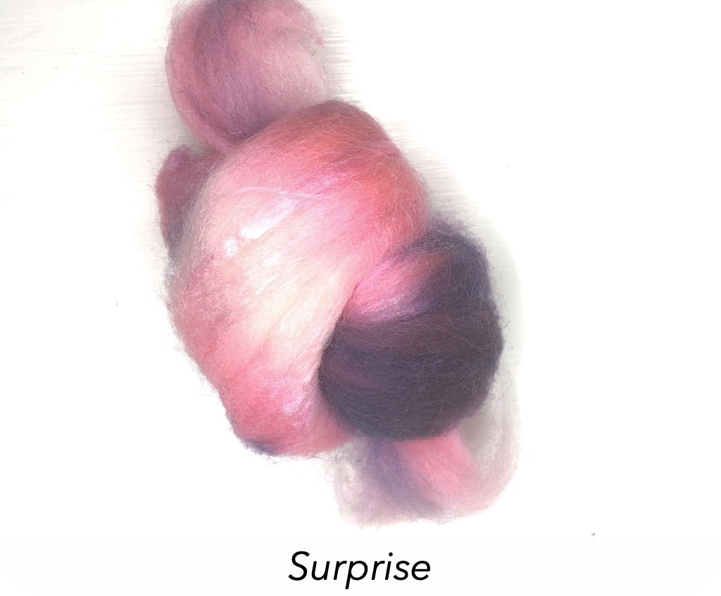 Hand Painted Silk/Merino Roving - Surprise