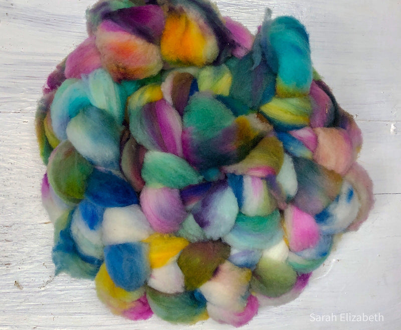 Hand Painted Canadian Merino Roving - Alpine Meadow