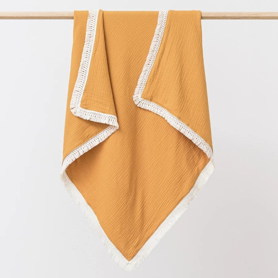 Over the Dandelions Saffron Muslin Tassel Blanket