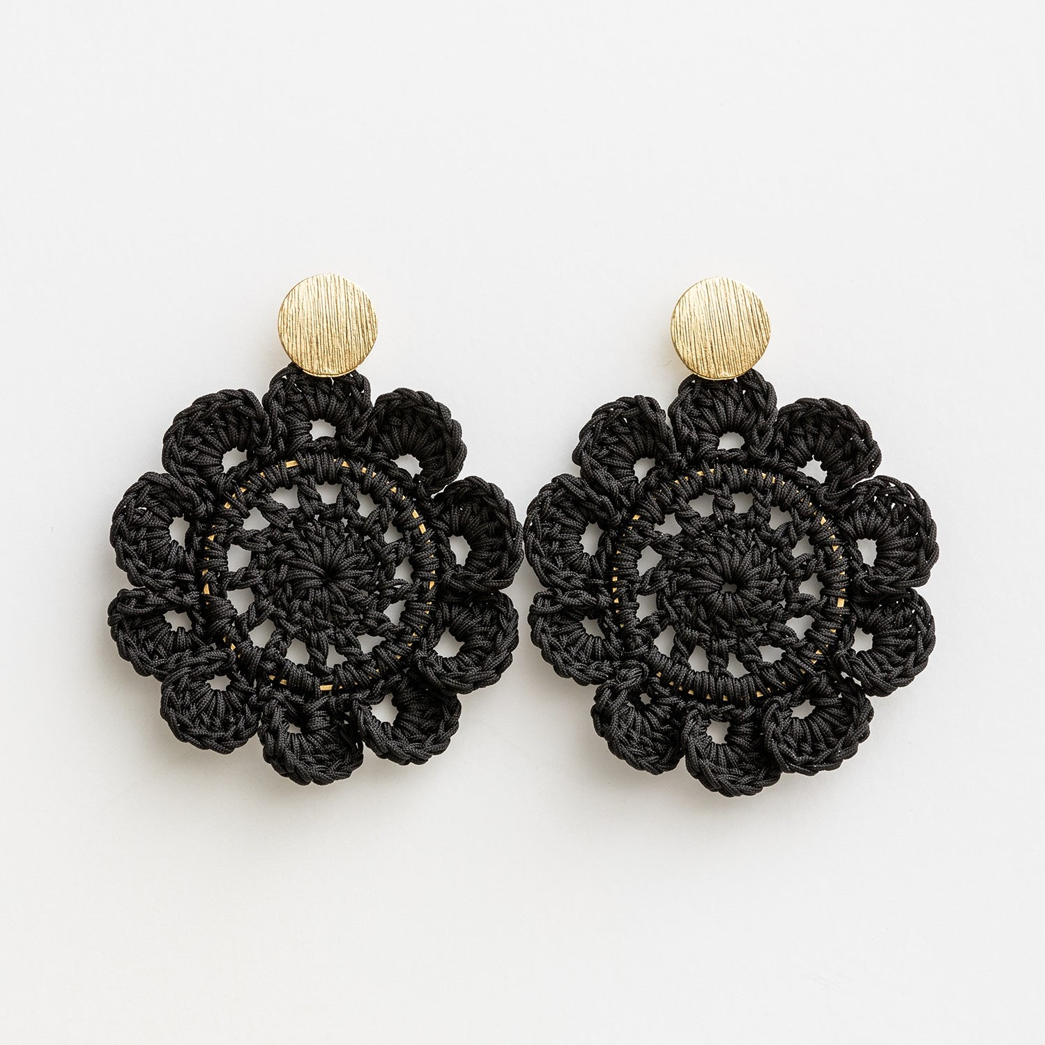 Stella + Gemma Black Crochet Earrings