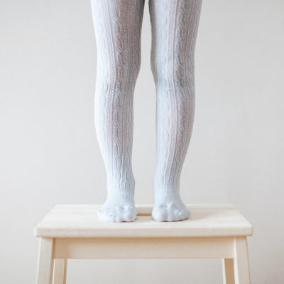 Lamington Snow Grey Cable Tights