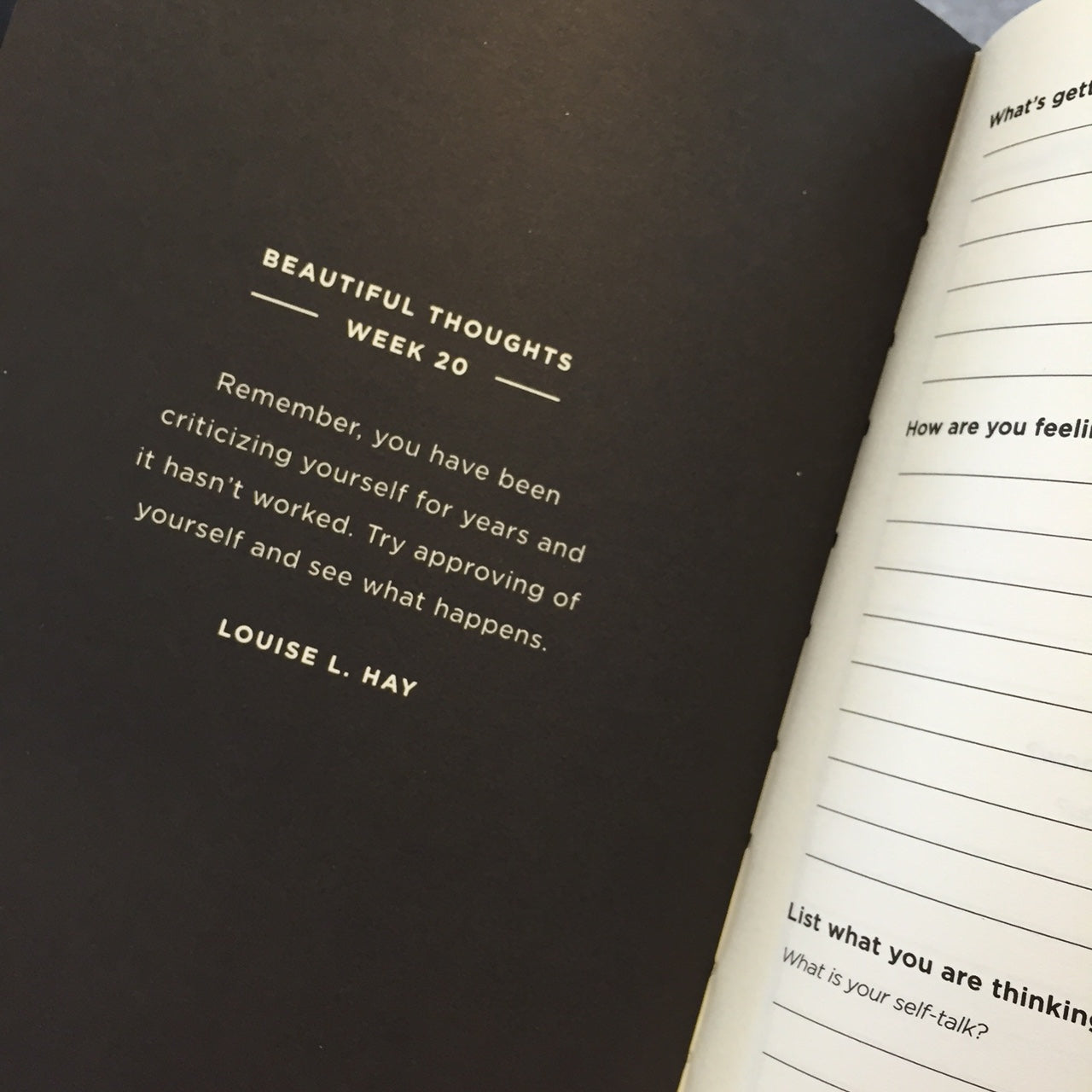 Black Beautiful Thoughts Journal Frank Stationery