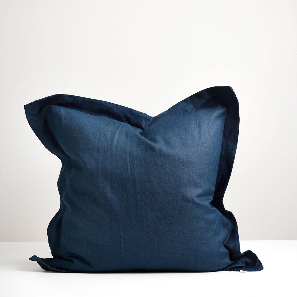 Navy European Pillowcase Thread Design