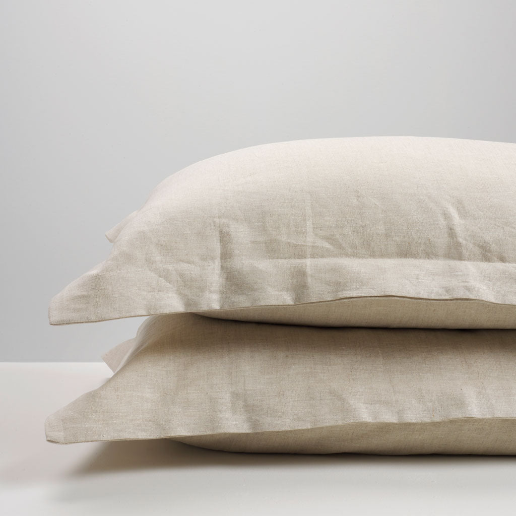 Natural Linen Oxford Pillowcases Thread Design