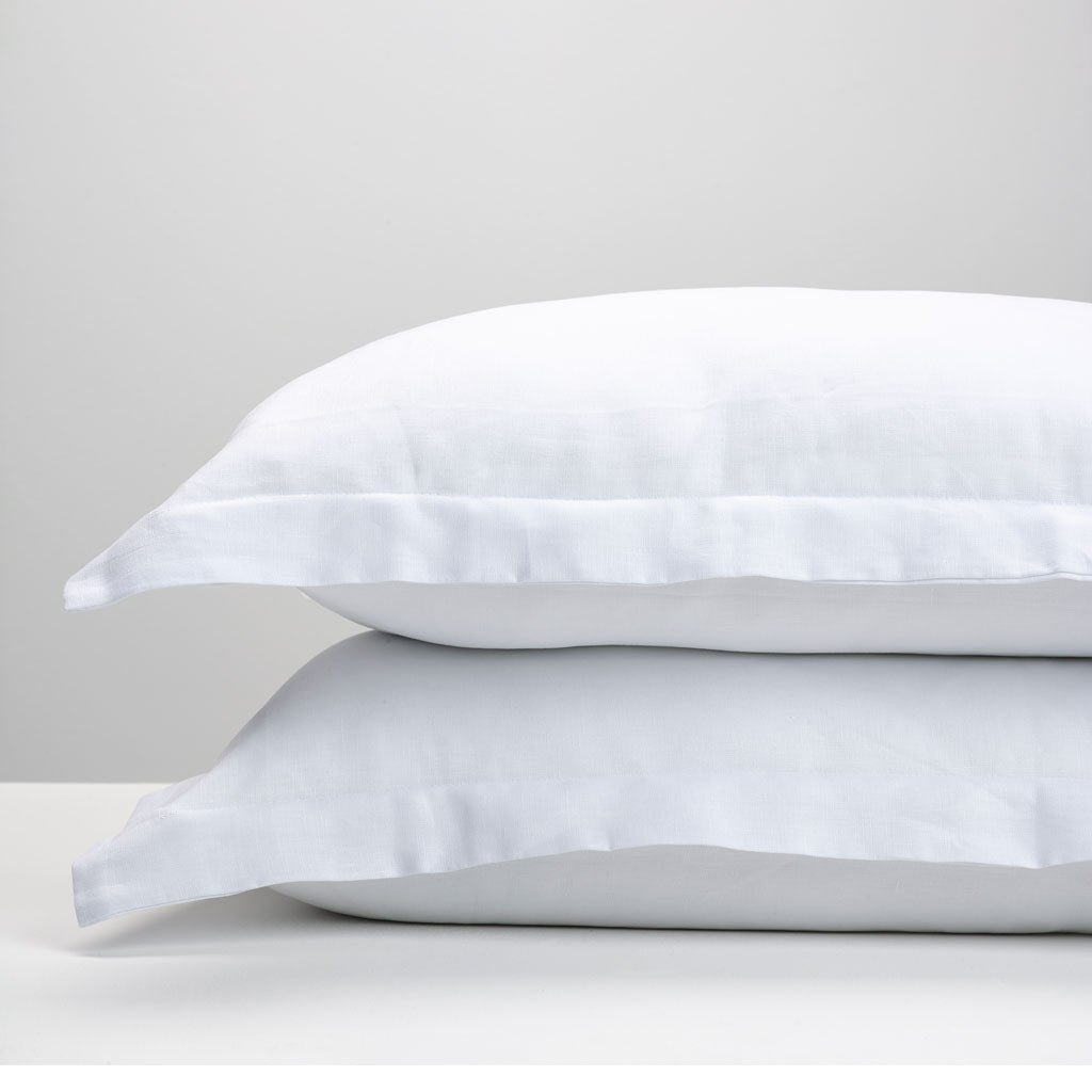 White Oxford Linen Pillowcases Thread Design