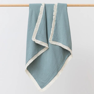 Over the Dandelions Sage Muslin Tassel Blanket