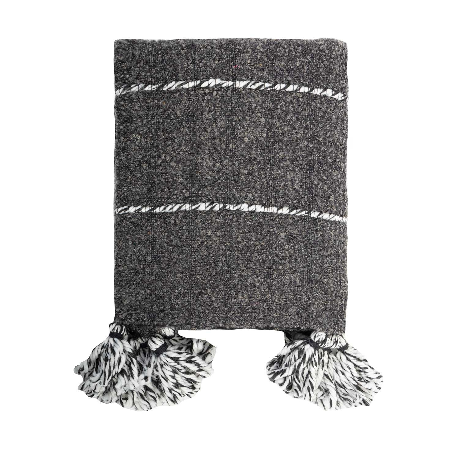 Linens & More Charcoal Tassle Wool Throw