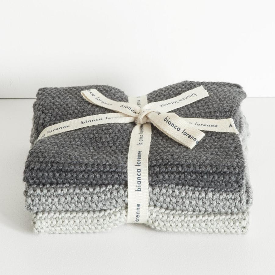 Grey Knitted Wash Cloths Bianca Lorenne