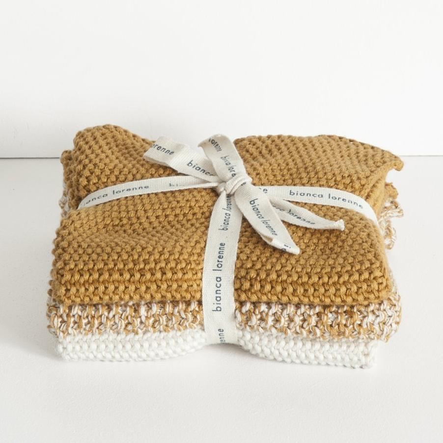 Ochre Knitted Wash Cloths Bianca Lorenne