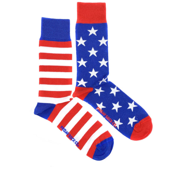 American stars and stripes mens mismatched socks, blue and red, american flag, ethically made italy, designed in canada