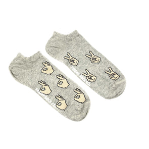 Grey ankle peace mismatched socks, ethically made in Italy, Designed in Canada