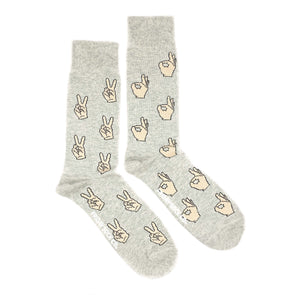 Peace and AOK symbols mismatched mens socks, grey, ethically made in Italy, designed in canada