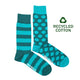Men's Recycled Cotton Green Stripe & Dot Socks